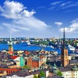 Scenisk sikt av Stockholm Arkivbild