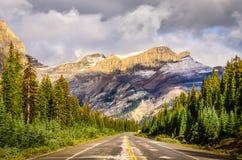 Scenisk sikt av vägen på den Icefields gångallén, kanadensiska steniga berg Arkivbild