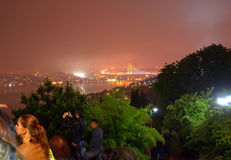 Scenisk sikt för Istanbul natt Royaltyfria Foton
