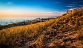 Scenisk sikt från gräs- dyn Lakeshore på solnedgången Arkivbild