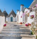 Scenisk sikt i Alberobello, den berömda Trulli byn i Apulia, sydliga Italien royaltyfria foton