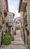 Scenisk sikt i Barrea, landskap av L ` Aquila, Abruzzo Italien Arkivfoto
