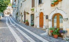 Scenisk sikt i Caramanico Terme, comune i landskapet av Pescara i den Abruzzo regionen av Italien Arkivbilder