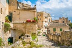 Scenisk sikt i området för `-Sassi ` i Matera, i regionen av Basilicata, i sydliga Italien royaltyfria foton