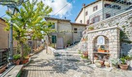 Scenisk sikt i Oricola, lantlig by i L `-Aquila landskap, Abruzzo Royaltyfri Foto