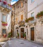 Scenisk sikt i Scanno, landskap av L ` Aquila, Abruzzo, centrala Italien Arkivbilder