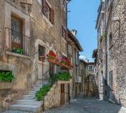 Scenisk sikt i Scanno, landskap av L ` Aquila, Abruzzo, centrala Italien Royaltyfria Foton