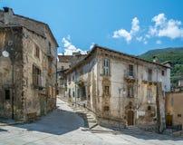 Scenisk sikt i Scanno, landskap av L ` Aquila, Abruzzo, centrala Italien Arkivbild