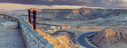 Scenisk sikt på den Ein Avdat nationalparken Arkivfoto