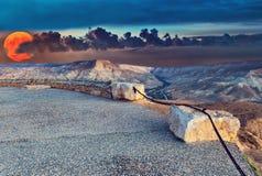 Scenisk sikt på den Ein Avdat nationalparken Royaltyfri Fotografi
