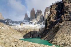 Scenisk sikt på den Torres del Paine treken Arkivbilder
