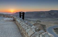 Scenisk sikt på Wadi Tzin, öken av Negeven royaltyfri foto