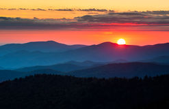 Scenisk solnedgång för Clingmans kupolGreat Smoky Mountains nationalpark Royaltyfri Foto