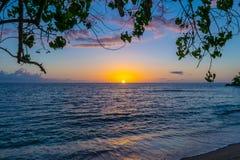 Scenisk solnedgång på den Negril Jamaica stranden Idyllisk romantisk tropisk inställning för karibisk ö arkivbilder