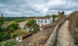 Scenisk sommarsikt i Obidos, Leiria område, Portugal Arkivbilder