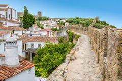 Scenisk sommarsikt i Obidos, Leiria område, Portugal Fotografering för Bildbyråer