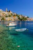 Scenisk strand på den grekiska ön av Symi Fotografering för Bildbyråer