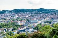 Scenisk taksikt av Stuttgart, Tyskland Arkivfoto