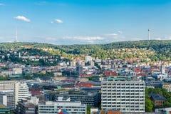 Scenisk taksikt av Stuttgart, Tyskland Royaltyfria Foton