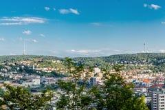 Scenisk taksikt av Stuttgart, Tyskland Arkivbilder