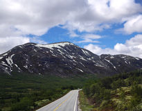 Scenisk tom väg i härliga berg av Norge Royaltyfri Bild