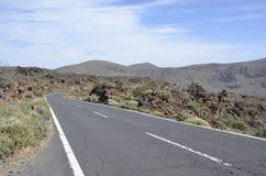 Scenisk väg i den Tenerife nationalparken El Teide Arkivfoton