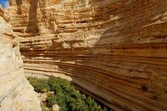 Sceniska klippor av den Ein Avdat Ein Ovdat klyftan i Israel Arkivbild