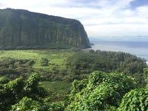 Sceniska klippor och hav på den Waipi'o dalen på den stora ön av Hawaii Fotografering för Bildbyråer