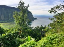 Sceniska klippor och hav på den Waipi'o dalen på den stora ön av Hawaii Royaltyfria Foton