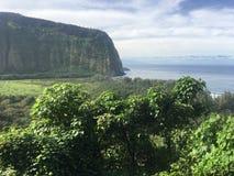 Sceniska klippor och hav på den Waipi'o dalen på den stora ön av Hawaii Arkivbilder