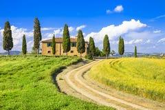 Sceniska landskap av Tuscany italy Arkivbild