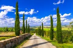 Sceniska landskap av Tuscany italy Royaltyfria Foton