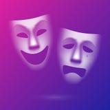 Sceniska maskeringar för komedi och för tragedi Arkivfoton