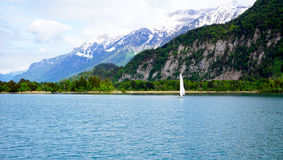 Sceniskt av Thun sjön och segla fartyget Arkivbild