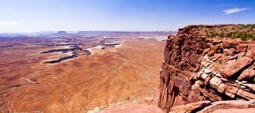 Sceniskt förbise från Canyonlandss ö i himlen, den Moab öknen Arkivfoto