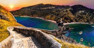 Sceniskt landskap av San Juan de Gaztelugatxe, baskiskt land, Spanien arkivbilder