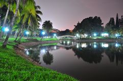 Sceniskt landskap för natt med reflexion på ett damm Royaltyfria Bilder