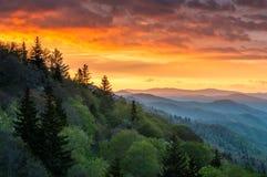 Sceniskt landskap Gatlinbu för Great Smoky Mountains soluppgång utomhus Royaltyfri Bild