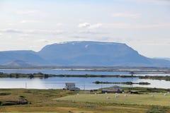 Sceniskt landskap i Island. Arkivfoton