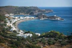 Sceniskt landskap med seaview, Kythira, Grekland Arkivbild