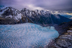 Sceniskt landskap på Franz Josef Glacier Sydliga fjällängar, västkusten, södra ö, Nya Zeeland arkivbilder