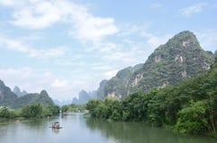 Sceniskt område för Yulong flod i Yangshuo Arkivfoton