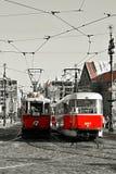 Sceniskt turnera av Prague, historisk spårvagn Arkivbild