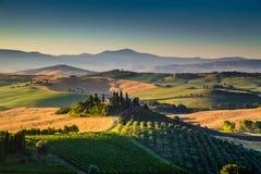 Sceniskt Tuscany landskap på soluppgång, Val d'Orcia, Italien Arkivbilder