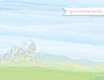 Sceniskt vattenfärglandskap i vattenfärgstil royaltyfri illustrationer