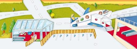 Scenografii lotniskowy opuszczać dla wakacje Obrazy Stock