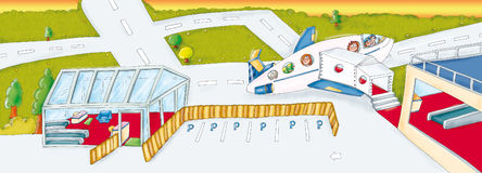 Scenography airport leaving for vacation. Adhesives, children, and animals airport Stock Images