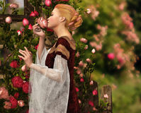 The Scent of Roses. A lady in medieval garb smelling a rose Royalty Free Stock Image