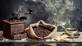 Scent of vintage brewing coffee stock image