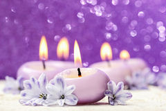 Scented candle and hyacinth flowers. Stock Photography